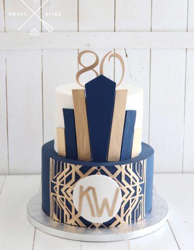 gatsby navy gold 80th birthday cake