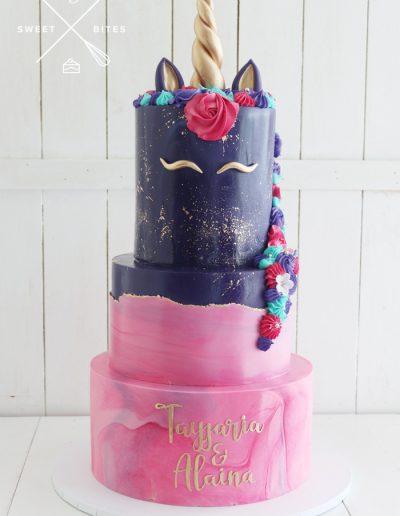 pink purple unicorn marble cake