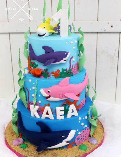 baby shark under the sea ocean cake 1st birthday