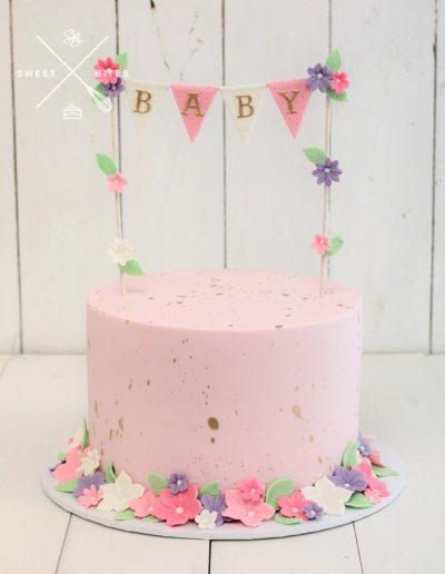 pink baby shower flowers cake