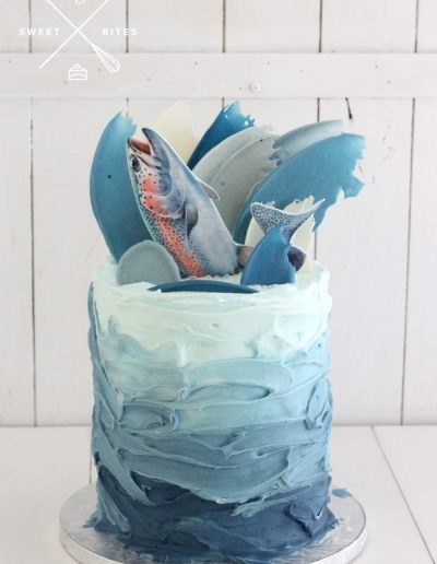 trout fishing sea ocean cake