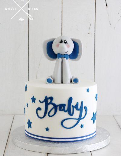baby shower blue elephant boy cake