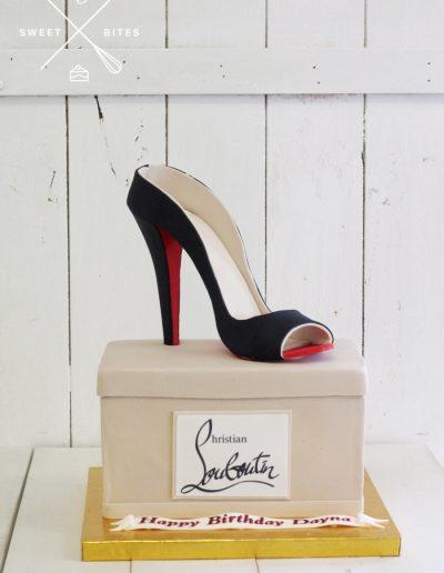 louboutin heels designer luxury shoe box cake