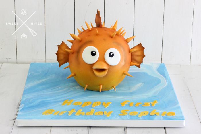 3d pufferfish blow fish cake