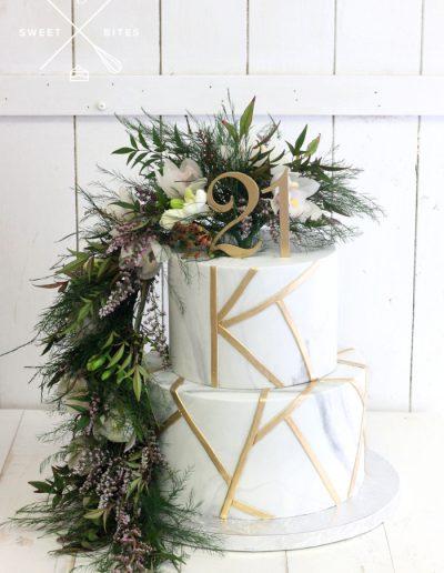geometric 21st birthday cake flowers asymetric