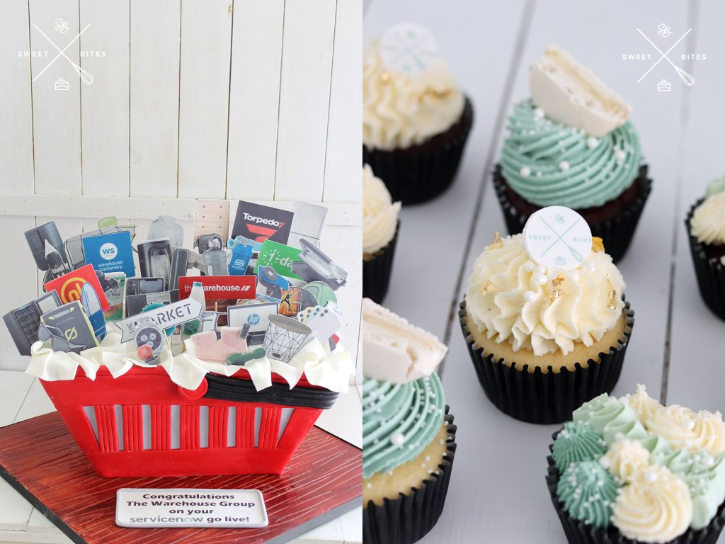 The Warehouse shopping basket cake and Sweet Bites branded cupcakes