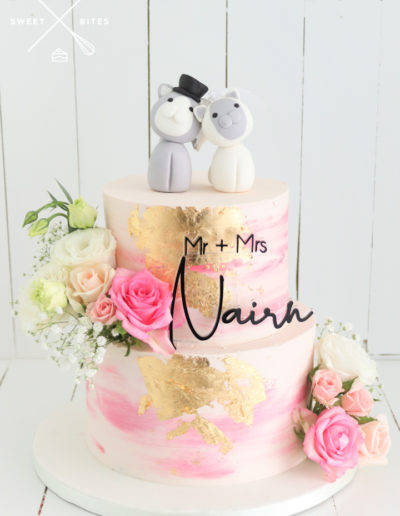 watercolour pink gold wedding cake cat topper cute fresh flowers