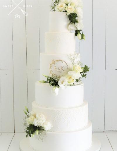 6 tier white traditional classic stencil wedding cake