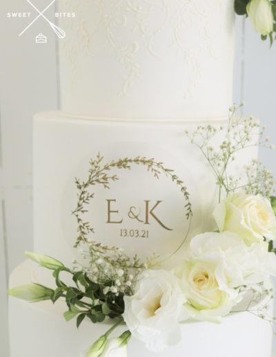 classic white traditional stencil wedding cake