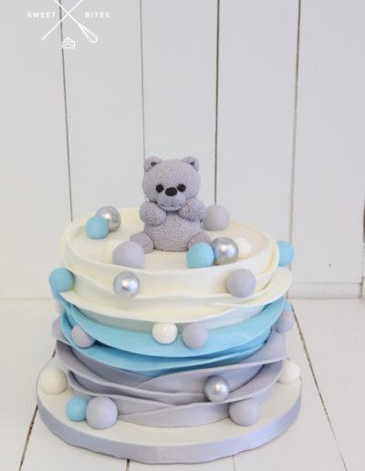 baby shower cake boy tedding bear grey silver blue scallop ruffles