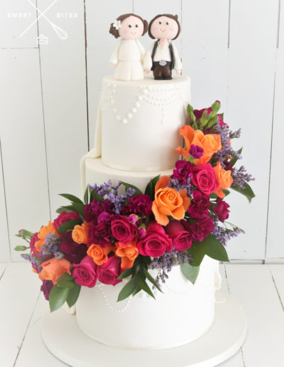 traditional star wars wedding cake surprise flower cascade