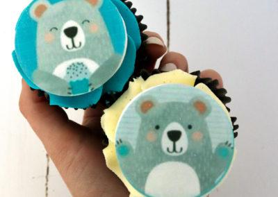 blue and white bear edible image cupcake