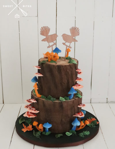 woodland rustic woods log wedding cake mushrom fantail
