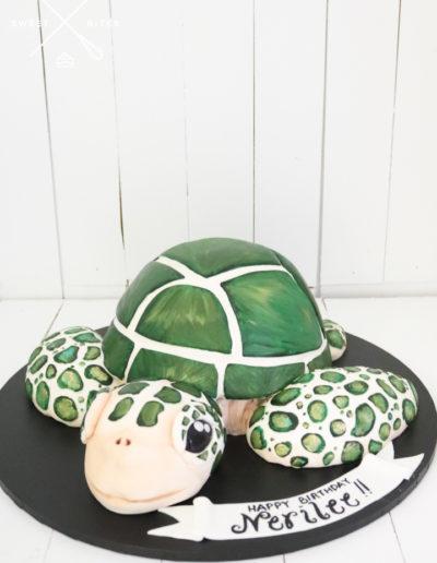3d sea turtle cake green