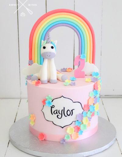 cute unicorn rainbow cake pastel 2nd birthday