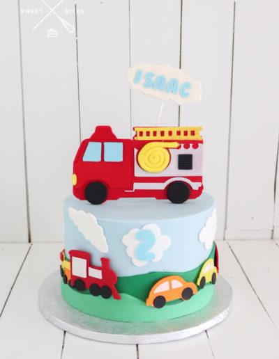 fire truck cake train transport cars 2nd birthday