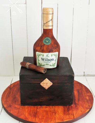 whiskey cognac bottle cake cigar box