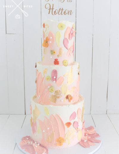 texture wedding cake pinks yellow abstract boho chic