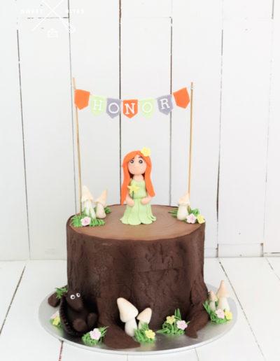 log tree stump fairy cake forest pixie