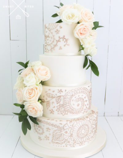 traditinal classic hand piped henna wedding cake 4 tier