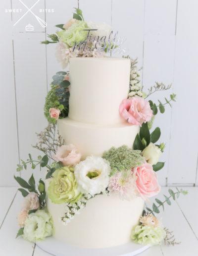 simple 3 tier white wedding cake flowers fresh finally mr & mrs