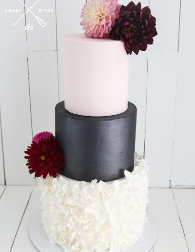 pink black white wedding cake ruffles