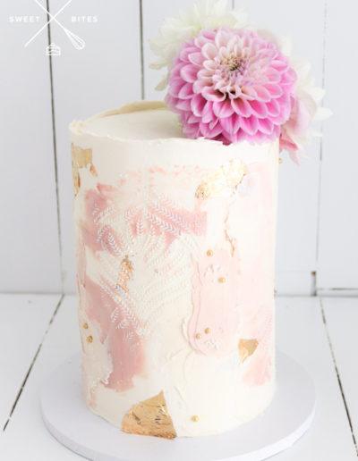 single tier wedding cake modern texture stencil rustic pink gold