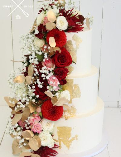 3 tier white gold roses flowers full side wedding cake
