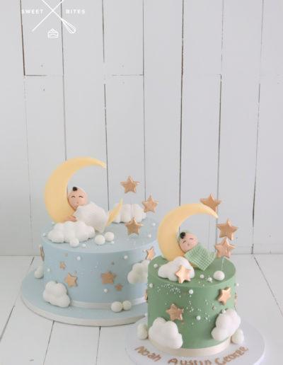sleeping baby moon boy clouds stars cake shower