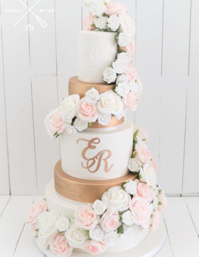 rose gold white fresh rose wrap cascade 5 tier classic wedding cake