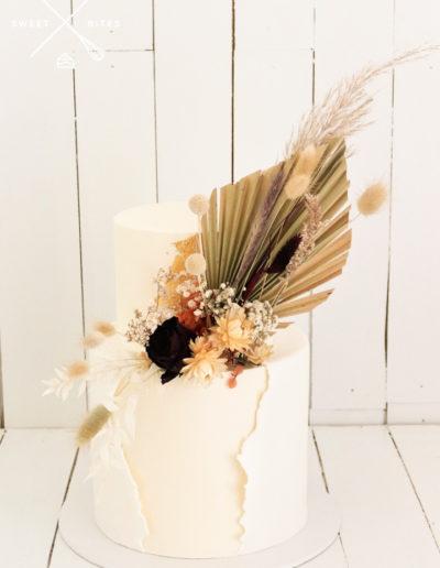 boho rustic dried fan flowers fondant wrap wedding cake