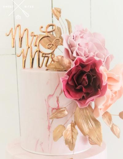 pink marble sugar roses wedding cake