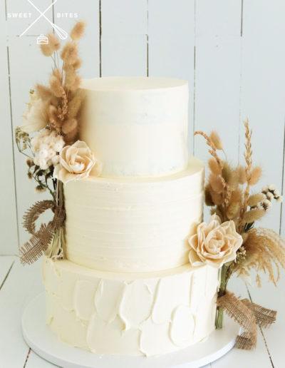 boho hessian burlap rustic mixed texture wedding cake dried flowers bunny tail