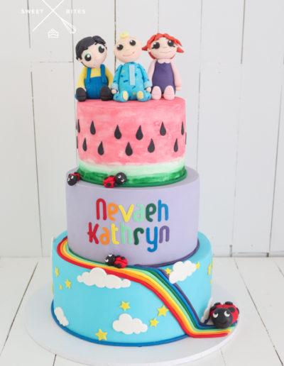 cocomelon cake rainbow characters watermelon