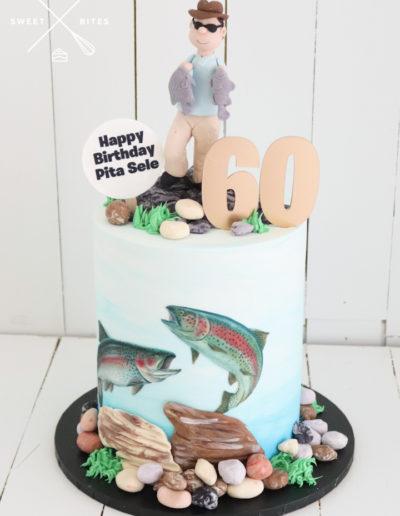fishing cake underwater fisherman