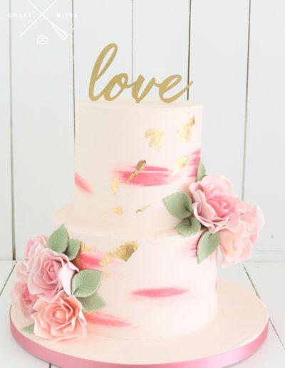 watercolour gold pink wedding cake sugar flowers roses