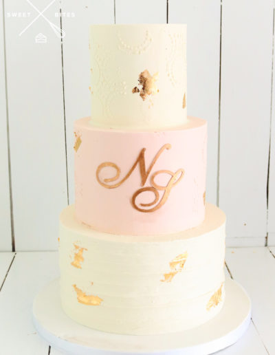 pink white stencil gold 3 tier wedding cake texture linear