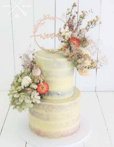 semi naked natural ganache boho wedding cake