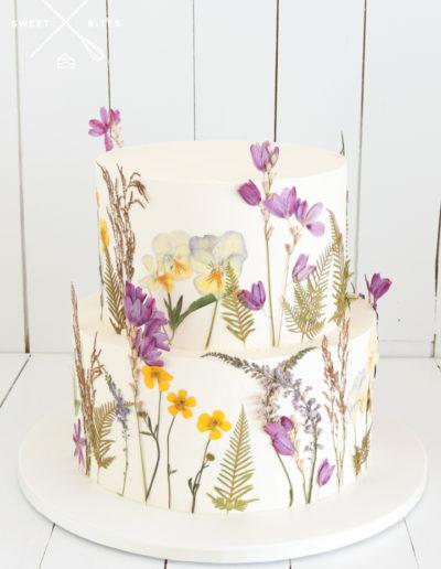 pressed dried flowers pansy wedding cake