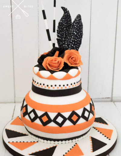 african pot rose feather brown orange traditional cake