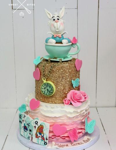 alice in wonderland cake tea cup white rabbit