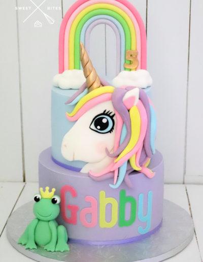 unicorn frog rainbow cake
