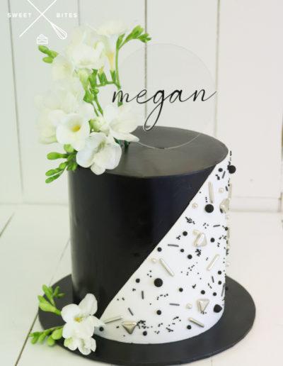 black white abstract sprinkle cake fresia