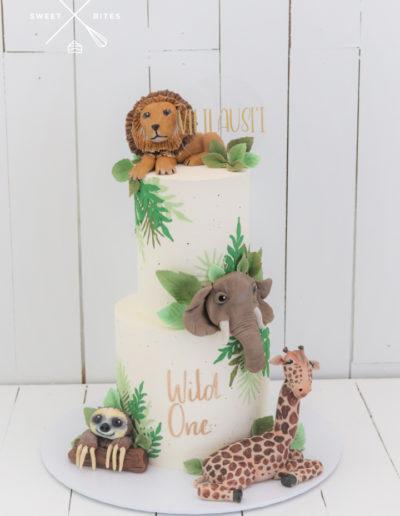 wild one safari forest jungle cake sloth giraffe elephant lion