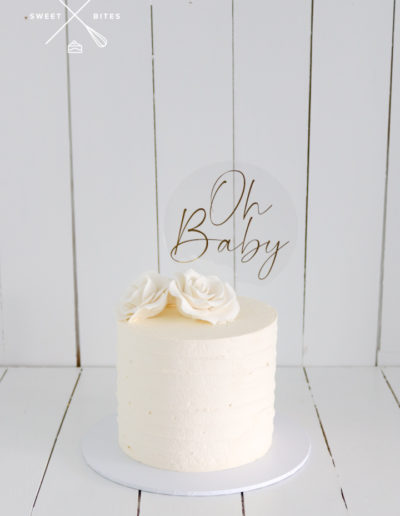 simple classic white oh baby cake