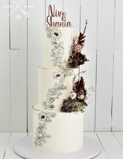 wedding cake hand painted flowers roses