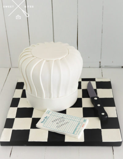 chef cook hat cake toque knife order notepad checkerboard