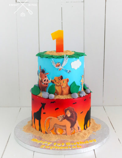 lion king 1st birthday cake sunset airbrush