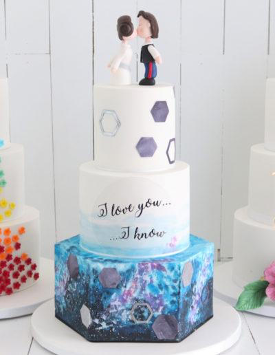bright colourful rainbow wedding cake star wars princess leia han solo galaxy airbrush blossom hibiscus
