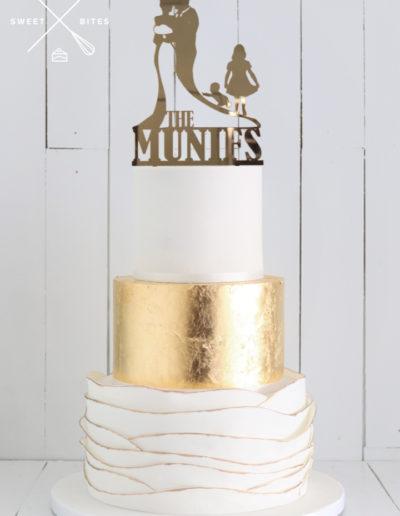 white gold ruffle 3 tier wedding cake scallop